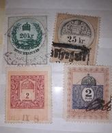 Hungary 1903 REVENUE STAMPS, FISCAUX, Lot 4 Stamps 20kr, 25 Kr, 2 Filler - Ungheria