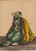 I45 - Peinture Aquarelle - Travail Perse Sans Doute 19e - Un Sage Lisant Le Coran - Gouaches