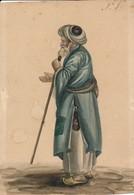 I45 - Peinture Aquarelle - Travail Perse Sans Doute 19e - Un Mendiant - Gouaches
