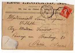 """1908--Lettre De SENLIS-60 Pour PARIS-75--type Semeuse -cachet Ambulant Type III """"Crépy à Chantilly""""-- - Storia Postale"""
