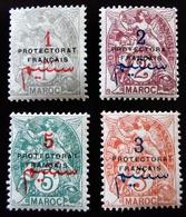 1914  Maroc Yt 37, 38, 39, 40 French Protectorate . Neufs Traces Charnières - Marokko (1891-1956)