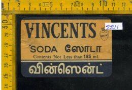 Etichetta Bibita Acqua Minerale Tonica Vincents - Etichette