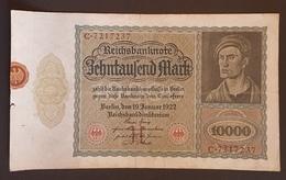EBN8 - Germany 1922 Banknote 10000 Mark Pick 70 #C.7217237 - [ 3] 1918-1933 : Weimar Republic