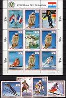 Winter-Olympia 1992 Paraguay 4471/4+KB ** 16€ Ski-Läuferin Kiehl Alpine Skilauf Abfahrtslauf Sport Sheetlet Olympic - Winter (Other)