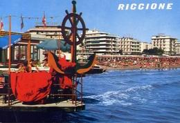 Riccione - Alberghi E Spiaggia - Formato Grande Non Viaggiata – E 10 - Rimini