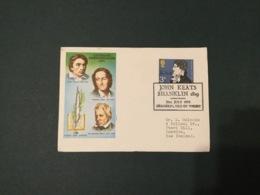 GB 1971 3p John Keats FDC ,airmail To NZ, Philart Brand, Shanklin Special Postmark - FDC