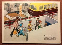 Vintage USSR Russian Postcard 1972 Artist VEDERNIKOV For Soviet School. Traffic Laws. Schoolboy * Underground Crossing - Künstlerkarten