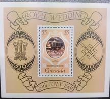 O) 1981 GRENADA, ROYAL WEDDING-GLASS COACH SCT 1054, SOUVENIR MNH - Grenada (1974-...)