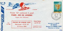 DAKAR / SENEGAL - 1976 , Concorde - Premier Vol / Erstflug PARIS - RIO - Senegal (1960-...)