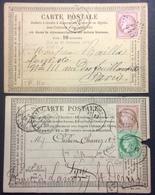"CP22 2 Cartes Précurseur N°9 T58 GC 445 Bercy N°24 T53-54 Soissons ""Magnié"" - Postal Stamped Stationery"