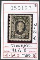 Slowakei - Slowakische Republik - Slovensko - Michel  42 XA - ** Mnh Neuf Postfris - Slowakische Republik