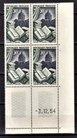 FRANCE 1954 - BLOC DE 4 TP  Y.T. N° 971 - COIN DE FEUILLE / DATE / NEUFS** - Coins Datés