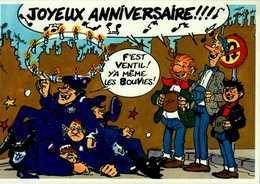 JOYEUX ANNIVERSAIRE !!! ...LES PIEDS NICKELES.....CPM - Comics