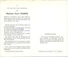 Devotie - Devotion - Doodsprentje Overlijden Oudstrijder - Henri Warzée - Tongeren 1891 - 1974 - Obituary Notices