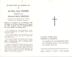 Devotie - Devotion - Doodsprentje Overlijden Oudstrijder - Jean Velaers - Tongeren 1894 - 1970 - Obituary Notices