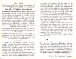 Devotie - Devotion - Doodsprentje Overlijden Oudstrijder - Louis Leonard Vanweert - Vlijtingen 1894 - Tongeren 1968 - Obituary Notices