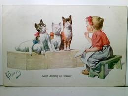 Aller Anfang Ist Schwer. Schöne, Seltene Künstler - AK Von Karl Feiertag, Gel. Als Marine - Post 1917. Mädel V - Hotels & Gaststätten