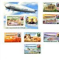 Madagascar 1975-Zeppelin-Emission Commune-YT 580/3+PA+B11***MNH-Non Dentelé - Zeppelins