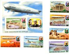 Madagascar 1975-Zeppelin-Emission Commune-YT 580/3+PA+B11***MNH- Dentelé - Zeppelins