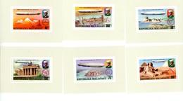 Madagascar 1975-Zeppelin-Emission Commune-YT 580/3+PA***MNH- -Feuillets Des Timbres-Dentelé-6P - Zeppelins