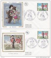 L4R059 FRANCE 1985 FDC Peynet  Saint Valentin 2,10f St Amour  St Valentin  14 02 1985 /2 Envel.  Illus. - FDC