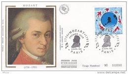 L4R192 FRANCE 1991 Musique FDC Mozart 2,50f Paris 09 04 1991/ Envel.  Illus. - Musique