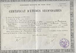 DIPLOME - Certificat D'études Secondaires - 1932 - - Diploma & School Reports