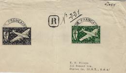 1947- Enveloppe RECC Pat Avion De Karikal Affr. N°4 Et 6  Ae  France Libre Pour New York - Briefe U. Dokumente