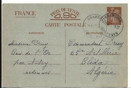 Guerre 39 40 GRANDPRE Ardennes CAD Horoplan Sur Entier Postal à 0.90 Type IRIS Pour L' ALGERIE 1941 ...G - Storia Postale