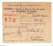 RÉCÉPISSÉ COLIS POSTAL SNCF FAVERNEY HAUTE SAÔNE 15 AVRIL 1944 PRISONNIER DE GUERRE LEJARS STALAG II D (STARGARD) - 1939-45