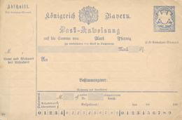 BAYERN   - 1887/89   , Postanweisung - Bavaria