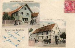 CPA - GERSTHEIM (67) - Carte Multi-Vues De 1904 - Restaurant Krempp Et Epicerie Bronn - Autres Communes