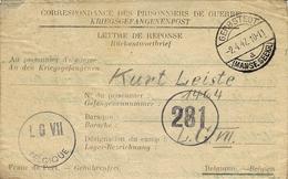 1947- Formulaire Pour Un P G Allemand  Au L G VII   Censure 281 En Provenance De La Zone Soviétique - Guerre 40-45