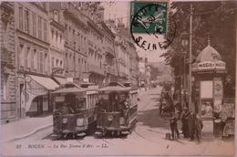 Rouen (76) Tres Belle Tram - Rue Jeanne D' Arc 1912 Ed. L. L - Rouen