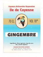 Etiquette Gingembre -  Ile De Cayenne -  Au Rhum Agricole Et Sirop De Sucre De GUYANE - Illustration Toukan - - Rhum