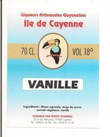Etiquette Vanille -  Ile De Cayenne -  Au Rhum Agricole Et Sirop De Sucre De GUYANE - Illustration Toukan - - Rhum
