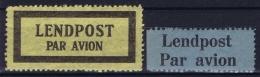 Estland Estonia Estonie: Two Lendpost Par Avion Labels  MNH/**/postfrisch/neuf Sans Charniere - Estland