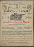 18--/ MONTEREAU / BERTIN Fils Et E. BEAUPRE - Batteuse à Plan Incliné à 1 Cheval Avec Tire Paille - 1800 – 1899