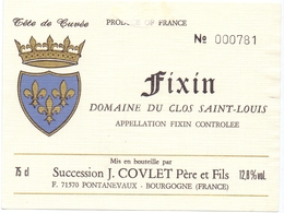 Etiket Etiquette - Vin - Wijn - Bourgogne - Fixin - Domaine Du Clos Saint Louis - Bourgogne
