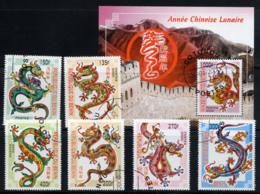 BENIN 2000, Année Chinoise Lunaire Du Dragon, 6 Valeurs Et 1 Bloc, Oblitérés / Used. R1559-60 - Astrologie