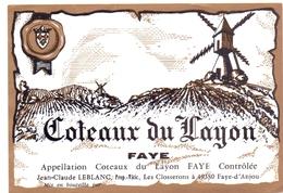 Etiket Etiquette - Vin - Wijn - Molen Moulin - Coteaux Du Layon - Faye - Windmills