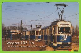 Voyo POLAND CRACOW Monthly Ticket  Wagon 102 Na  Tram 2001 Plastic Card - Week-en Maandabonnementen