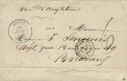 """1860- Lettre De GOREE  ( Sénégal )  Cad Bleu  Taxe 6 D Bleu """" Voie D'Angleterre ' Entrée COL.FR. ANGL. /AMB.CALAIS.B - Marcophilie (Lettres)"""