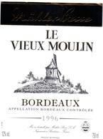 Etiket Etiquette - Vin - Wijn - Molen Moulin - Le Vieux Moulin - Bordeaux 1996 - Windmills