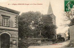 CPA - ESCLES (88) - Aspect Du Quartier De L'Eglise Et Du Vieux Cimetière Au Début Du Siècle - France
