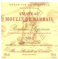 Etiket Etiquette - Vin - Wijn - Molen Moulin - Chateau Moulin De Barrail - Bordeaux 2002 - Windmills