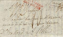 1817- Lettre De Londres Pour Lille ( Nord ) Entrée ANGLETERRE / PAR CALAIS Rouge  Taxe 10 D - Storia Postale