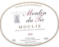 Etiket Etiquette - Vin - Wijn - Molen Moulin - Chateau Moulin Du Tic - 2000 - Windmills