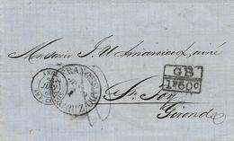 1866- De Vera Cruz ( Mexique) Pour Ste Foix Taxe 10 D + G B / 1f 60 C Entrée ANGL. AMB. CALAIS Noir - Storia Postale