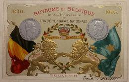 Indépendance Nationale Royaume De Belgique 75e Anniversaire Léopold Ier Léopold II En Relief Marcovici - Familles Royales